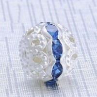 Boules rondes strass blue 10 mm