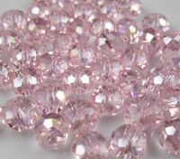 Perles  Cristal light rose  6x8mm, X 70