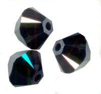 Toupies en crystal 4 mm Jet hematite X 100
