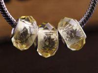 Perles Lampwork , perles de Murano et argent  15 x 9 et trou 4.5   citrine X 10 Perles