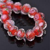 Perles Lampwork , perles de Murano  fleur rose    12 mm trou 1.2 mm X 12  Perles