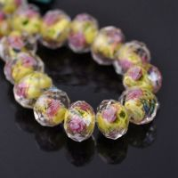 Perles Lampwork , perles de Murano LIGHT YELLOW