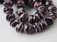 Perles Lampwork , perles de Murano et argent  12 mm ,trou 1.5   purple/black X 10
