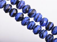 Perles Lampwork , perles de Murano dark blue 12 x 8 mm  X 10