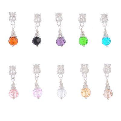 10 Mixte Bijoux Pendentifs Cristal verre pour Bracelet charm 27x8mm x 10