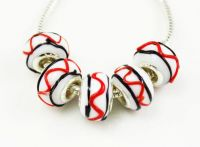 Perles Lampwork , perles de Murano et argent 925 silver 14 x 7 et trou 4.5 mm  X 5