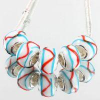 Perles Lampwork , perles de Murano et argent 14 x 14 et trou 4.5  X 5