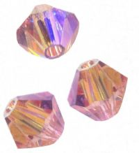 Perles toupies Swarovski 4mm <br /> LIGHT ROSE AB2X<br /> X 50 perles