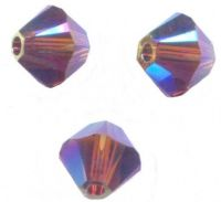 Perles toupies Swarovski  4mm <br /> AMETHYST AB2X<br /> X 50 perles