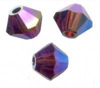 Perles toupies Swarovski 4mm  <br /> BURGUNDY AB2X<br /> X 50 perles
