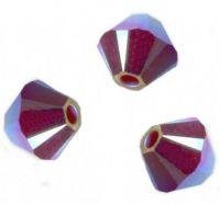 Perles toupies Swarovski 4mm  <br /> DARK RED CORAL AB2X<br /> X 50 perles