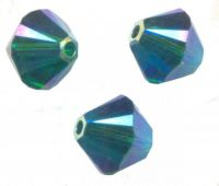 Perles toupies Swarovski 4mm  <br /> EMERALD AB2X<br /> X 50 perles