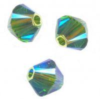 Perles toupies Swarovski 4mm  5328 FERN GREEN AB2X X 50 perles