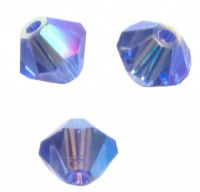 Perles toupies Swarovski 4mm 5301 SAPPHIRE AB2X X 50 perles