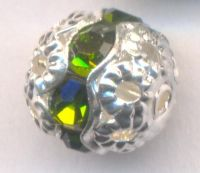 Boules rondes strass 8 mm olivine