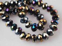 Perles crystal 2 x 3 mm jet AB X 100
