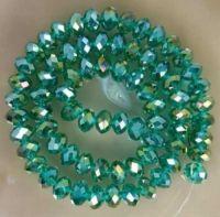 Perles cristal light emerald AB  6x4mm  25 pcs
