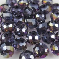 Perles crystal 3 x 4 mm VIOLET AB X 25