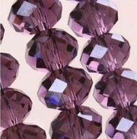 Vintage medium purple cristal perles 6x8mm X 60