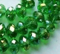 Perles,Vertes peridot  8x6mm, Cristal  70pcs