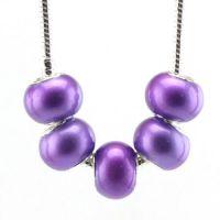 Perles Lampwork , perles de Murano et argent 925 14 x 8 et trou 4.5 mm X 5