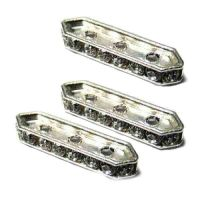 Barrettes strass 3 trous argenté Crystal 19x4 mm