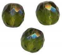 PERLES FACETTES DE BOHEME  6mm 25 perles  DARK OLIVINE