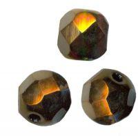PERLES FACETTES DE BOHEME  10 mm  BRONZE OR VITRAIL X 10