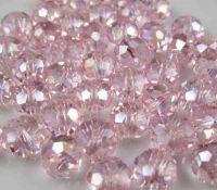 Perles crystal 3 x 4 mm Light rose  AB X 148