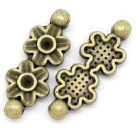 Connecteurs Fleur Bronze 28.5x11mm  X 5