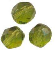 PERLES FACETTES DE BOHEME 8mm 20 perles OLIVINE
