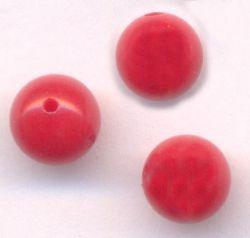 Perles 6 mm rondes en verre tchèque ROUGE X 10