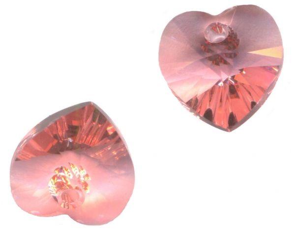 **6 perles Coeurs 10.3 x 10 mm   SWAROVSKI  ROSE PEACH 6228  **
