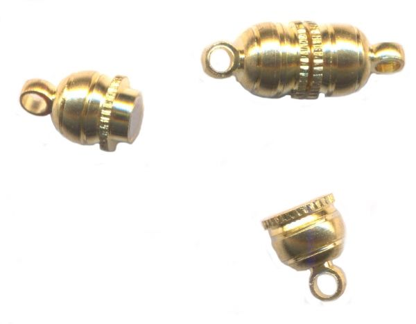 10 FERMOIRS AIMANT TUBE RAYE doré 15 X 5