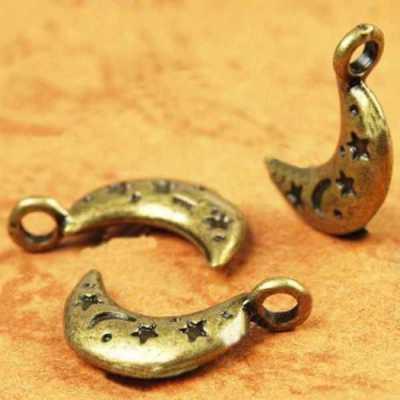 20 Breloques Charm Bronze Lune Etoile 19x13mm SC0080930 création bijoux
