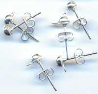 6 Supports clou boucle oreille tige + anneau Couleur argent