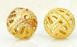 Perles Ajourées boules Filigrane métal Dorées 8mm  taille du trou = 0.8 mm Qte : 15