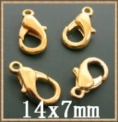 Fermoirs mousquetons  dorés  14 x 7mm Qte : 5