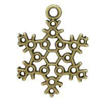 Pendentifs breloque Flocon de neige Bronze 22.5x17mm  X 2