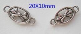 Intercalaires connecteurs oval fleur 20 x 10 Qte : 5