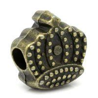 Intercalaires Couronne Bronze  13x12mm  taille du trou = 2 mm X 5
