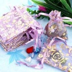 Pochettes  Sac ( 70 x 50 mm ) Organza pour Mariage Couleur violet + deco X 5