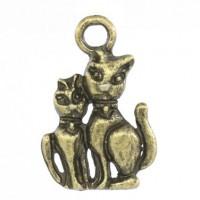 Pendentifs breloques Chats Bronze  22x15mm  Qte : 2