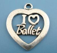 "Pendentifs breloques argent Coeur ""I Love Ballet"" 25mmx21mm Qte : 2"