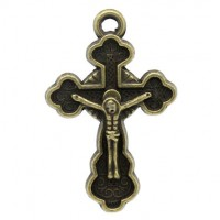 Pendentifs breloques Croix Jésus Bronze 3x1.9cm  Qte : 2