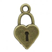 Pendentifs breloques Serrure Bronze  19x10.5mm  Qte : 2