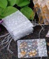 Pochettes Sac Organza ( 50 x 70 ) blanc +  étoile Mariage Cadeau X 5