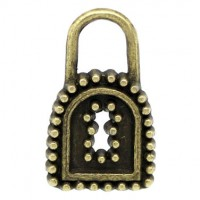 Pendentifs breloque Serrure Bronze 15x9mm  Qte : 2
