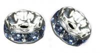 Rondelles strass 6 mm Aquamarine et argent