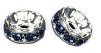 Rondelles strass 6 mm Sapphire et argent